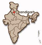 Chandigarhs placering i Indien